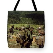 Soldiers Descend The Side Of Hill 742 Tote Bag