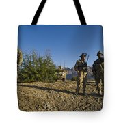 Soldiers Discuss A Strategic Plan Tote Bag