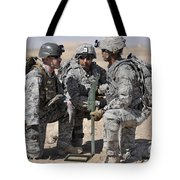 Soldiers Discuss A Strategic Plane Tote Bag