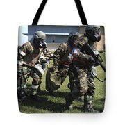 Soldiers Dressed In Chemical Warfare Tote Bag