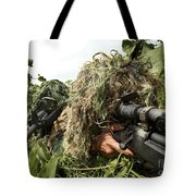 Soldiers Dressed In Ghillie Suits Tote Bag