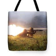 Soldiers Fire A Rocket Propelled Tote Bag