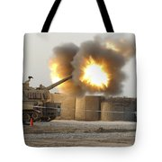 Soldiers Fire The Howitzers Tote Bag