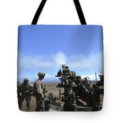 Soldiers Firing The M777 Howitzer Tote Bag