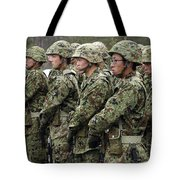 Soldiers From The Japan Ground Self Tote Bag by Stocktrek Images