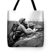 Soldiers Locate Enemy Position On A Map Tote Bag