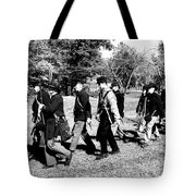 Soldiers March Black And White Tote Bag