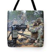 Soldiers Operate A Mk-19 Grenade Tote Bag by Stocktrek Images