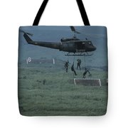 Soldiers Rappel From A Helicopter Tote Bag