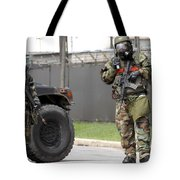 Soldiers Stand Guard At An Intersection Tote Bag