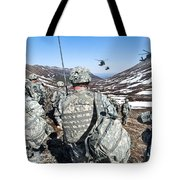 Soldiers Wait For Uh-60 Black Hawk Tote Bag