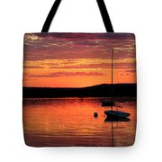 Solitary Sailboat At Sundown Tote Bag