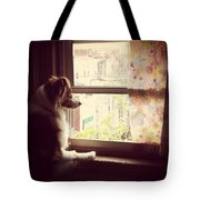 Somewhere In The Distance...a Puppy Tote Bag by Katie Cupcakes
