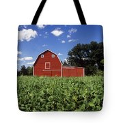 Soybean Field And Red Barn Near Anola Tote Bag