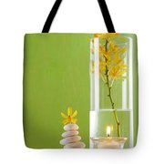 Spa Concepts With Green Background Tote Bag