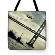 Space Shuttle And San Francisco Bay Bridge  Tote Bag