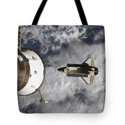 Space Shuttle Atlantis And The Docked Tote Bag
