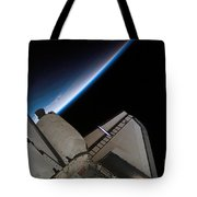 Space Shuttle Endeavour Backdropped Tote Bag