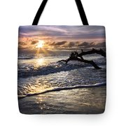 Sparkly Water At Driftwood Beach Tote Bag