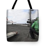 Specialist Records Video Of Flight Deck Tote Bag