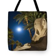 Sphinx And Date Palms With Full Moon Tote Bag