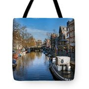 Spiegelgracht And Ship Amsterdam Tote Bag