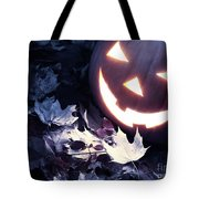 Spooky Jack-o-lantern On Fallen Leaves Tote Bag