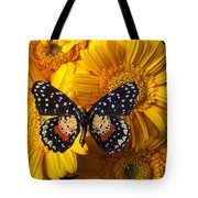 Spotted Butterfly On Yellow Mums Tote Bag