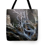 Spotted Owl In Tree Tote Bag