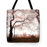 Spring Cherry Blossoms - Central Park Reservoir Tote Bag by Vivienne Gucwa