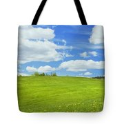 Spring Farm Landscape With Blue Sky In Maine Tote Bag