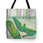 Spring Green Stripes And Rivets Tote Bag