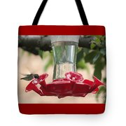 Spring Hummingbird At Feeder Tote Bag