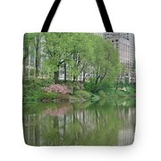 Spring Reflections Of Manhattan In Central Park Tote Bag