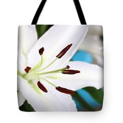 Square Lily On Blue Tote Bag