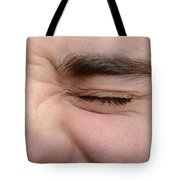 Squinting Eyes Tote Bag