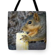 Squirrel Holding Corn Tote Bag