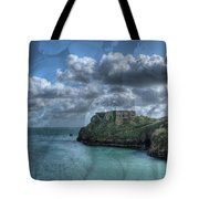 St Catherines Rock Tenby With A Shell Texture Tote Bag
