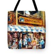St. Denis And Prince Arthur Montreal Cafe Scene Tote Bag