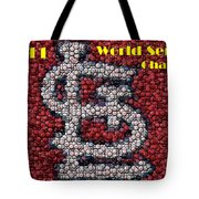 St. Louis Cardinals World Series Bottle Cap Mosaic Tote Bag