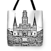 St Louis Cathedral On Jackson Square In The French Quarter New Orleans Photocopy Digital Art Tote Bag