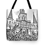 St Louis Cathedral Rising Above Palms Jackson Square New Orleans Photocopy Digital Art Tote Bag by Shawn O'Brien