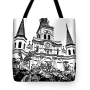 St Louis Cathedral Rising Above Palms Jackson Square New Orleans Stamp Digital Art Tote Bag