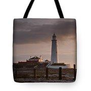 St Marys Lighthouse After Sunrise Tote Bag