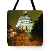 St Pauls Cathedral At Night With Trees Tote Bag
