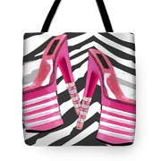 Stack 'em High Pink Platforms On Zebra Tote Bag