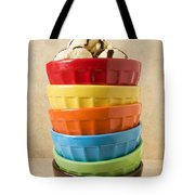 Stack Of Colored Bowls With Ice Cream On Top Tote Bag