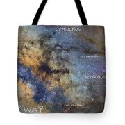 Star Map Version The Milky Way And Constellations Scorpius Sagittarius And The Star Antares Tote Bag