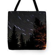 Star Trails Above Spruce Tree Line Tote Bag by Darcy Michaelchuk
