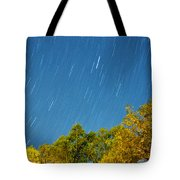 Star Trails On A Blue Sky Tote Bag